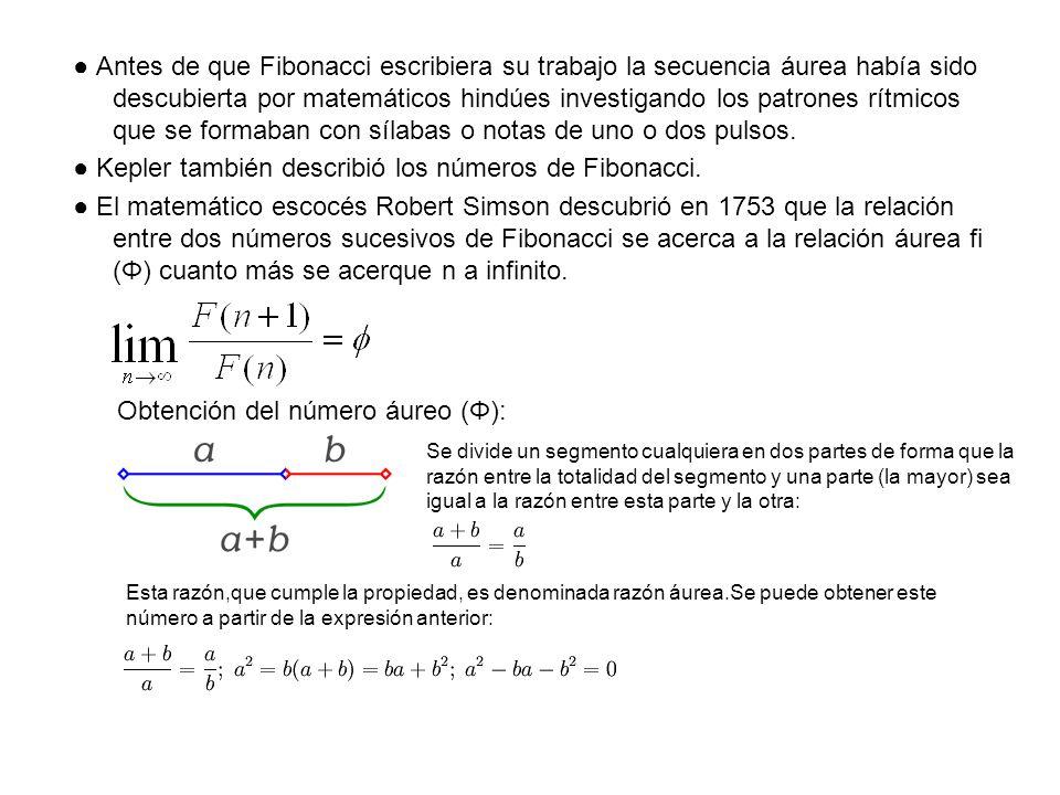 ● Kepler también describió los números de Fibonacci.