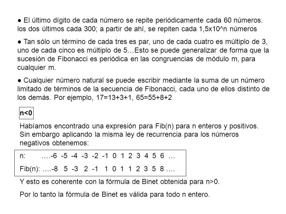 ● El último dígito de cada número se repite periódicamente cada 60 números. los dos últimos cada 300; a partir de ahí, se repiten cada 1,5x10^n números