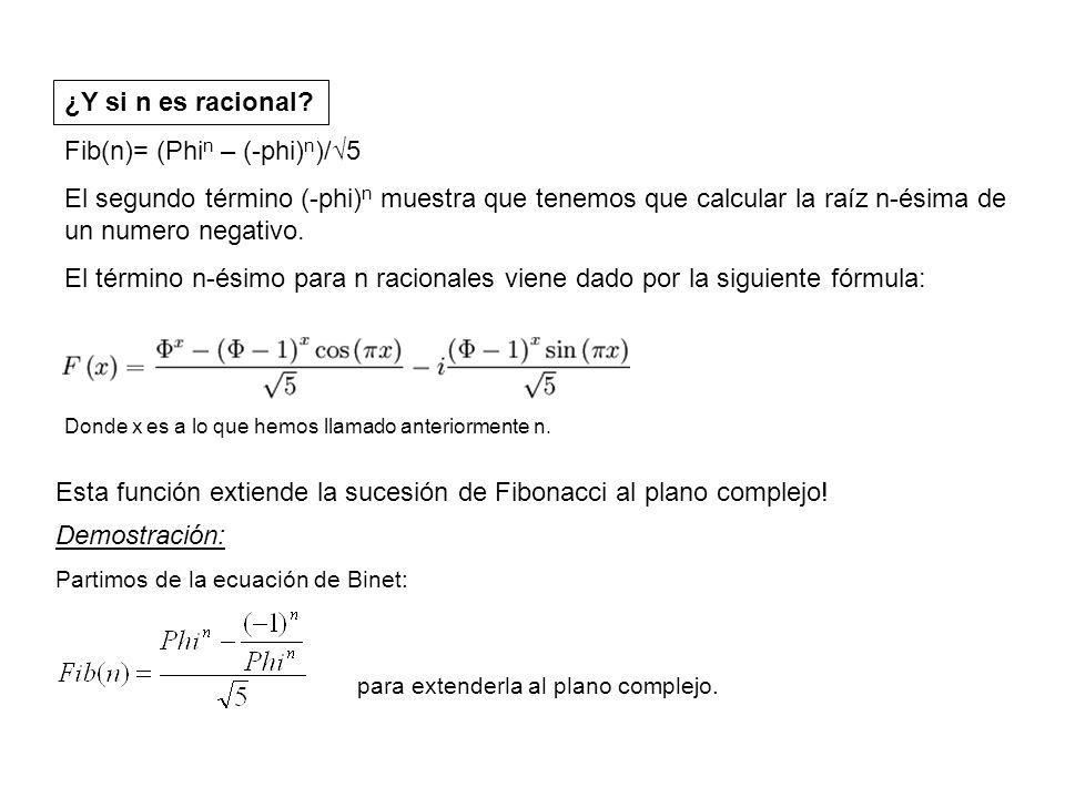 Fib(n)= (Phin – (-phi)n)/√5