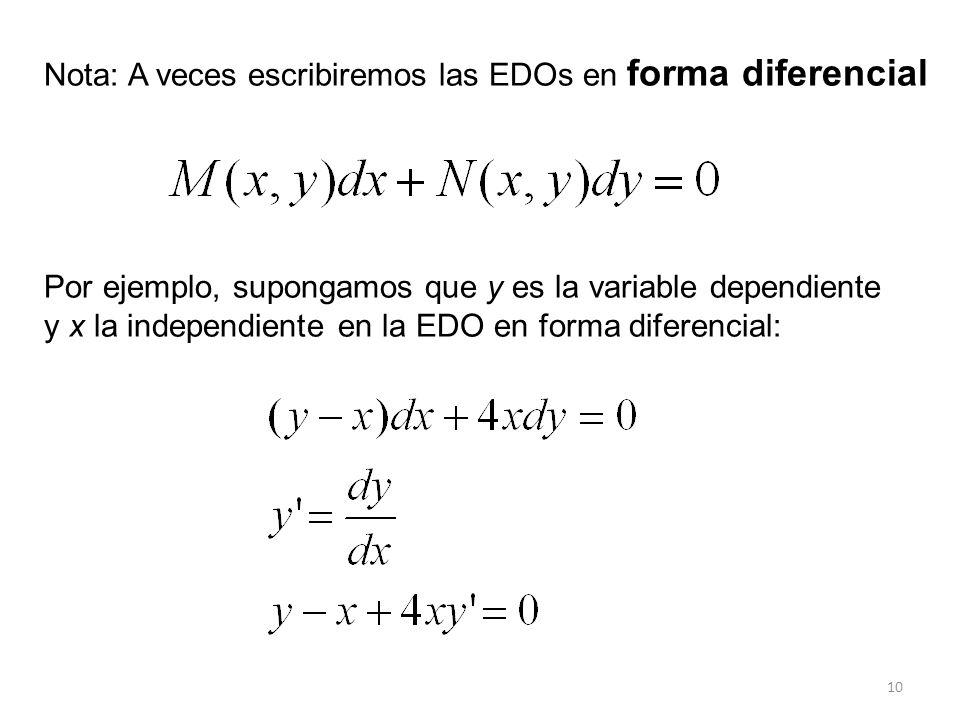 Nota: A veces escribiremos las EDOs en forma diferencial