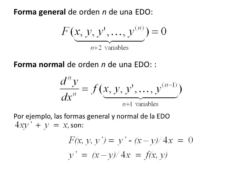 Forma general de orden n de una EDO:
