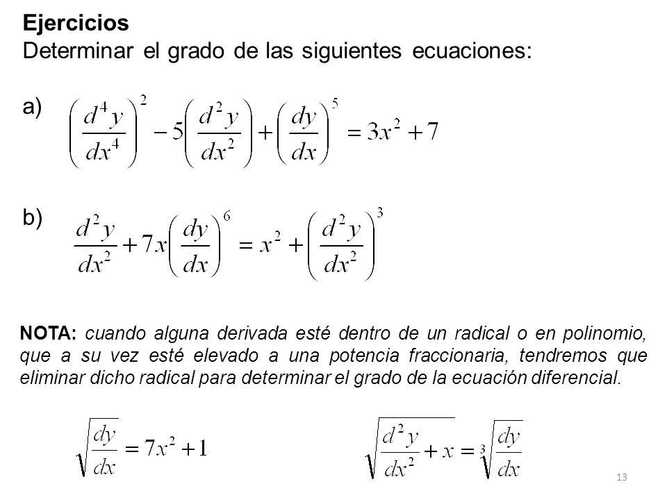 Determinar el grado de las siguientes ecuaciones: a)