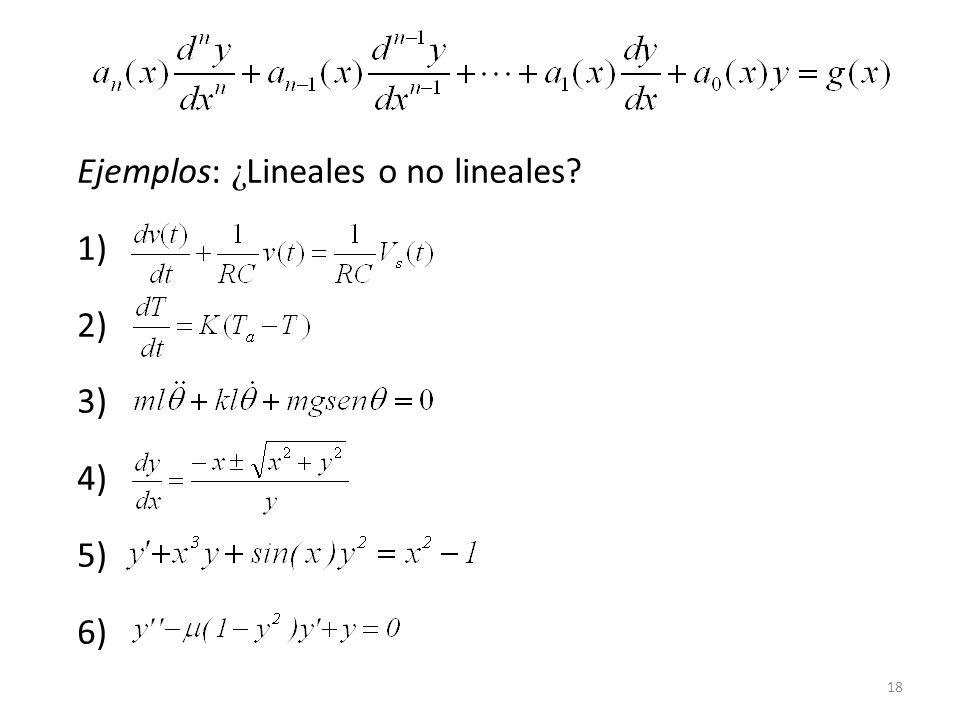 Ejemplos: ¿Lineales o no lineales