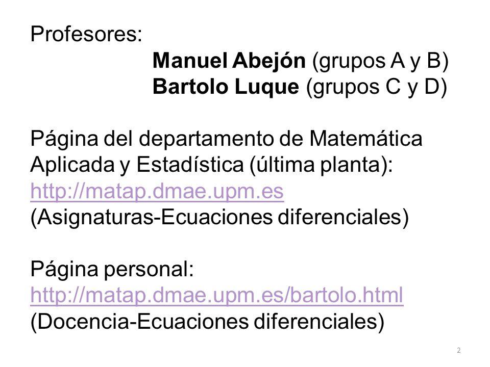 Profesores: Manuel Abejón (grupos A y B) Bartolo Luque (grupos C y D) Página del departamento de Matemática.