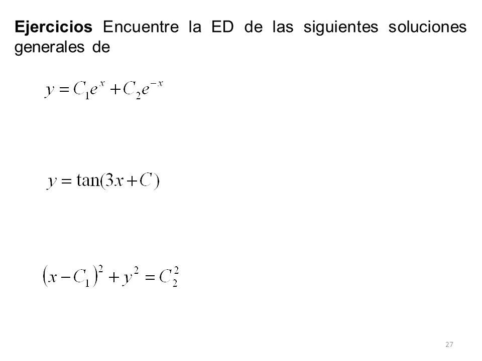 Ejercicios Encuentre la ED de las siguientes soluciones generales de
