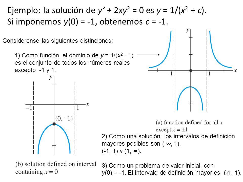 Ejemplo: la solución de y' + 2xy2 = 0 es y = 1/(x2 + c).