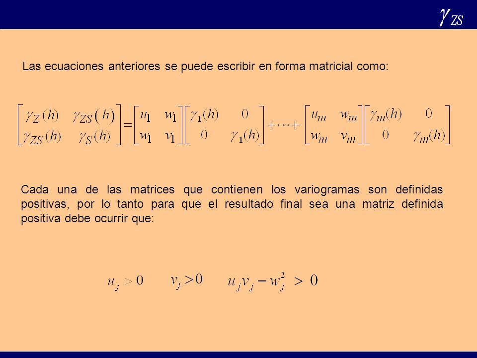 Las ecuaciones anteriores se puede escribir en forma matricial como: