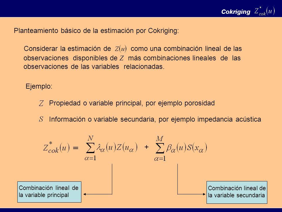 + Planteamiento básico de la estimación por Cokriging: