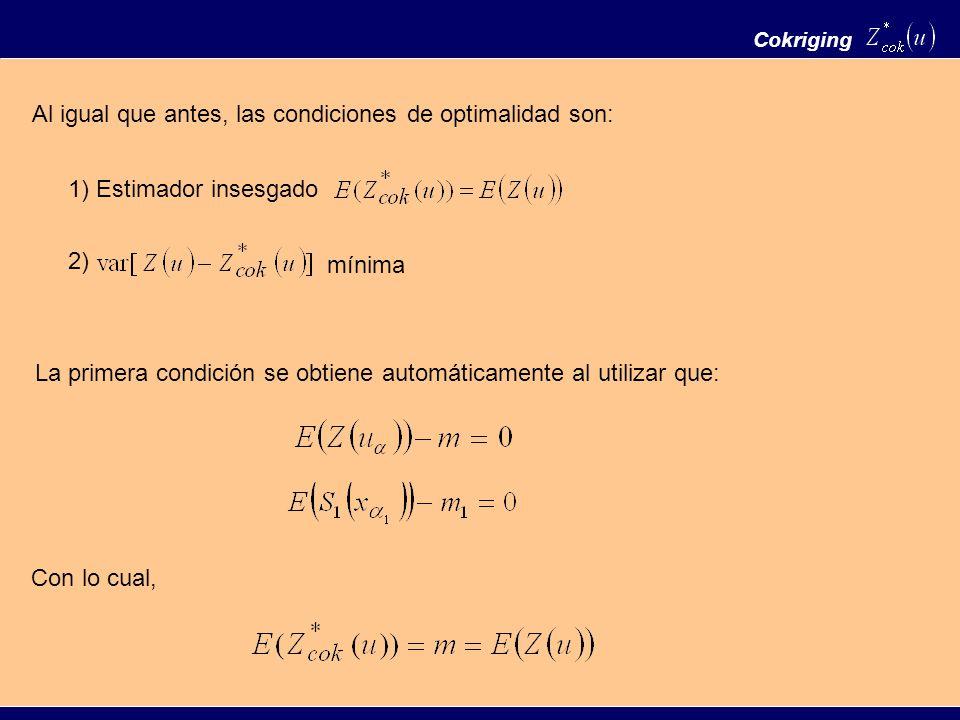 Al igual que antes, las condiciones de optimalidad son: