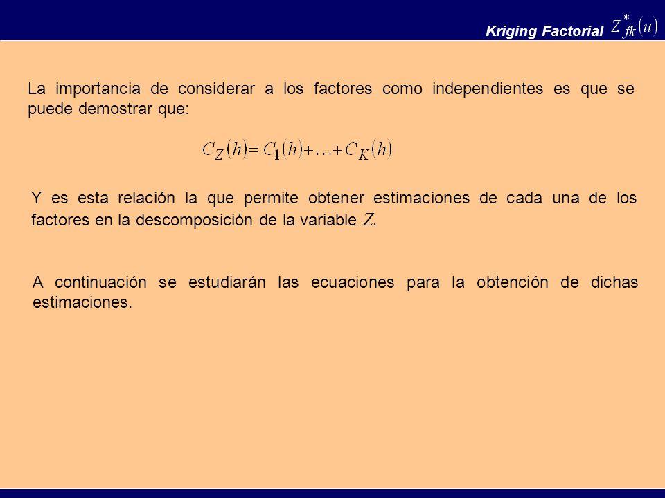 Kriging Factorial La importancia de considerar a los factores como independientes es que se puede demostrar que: