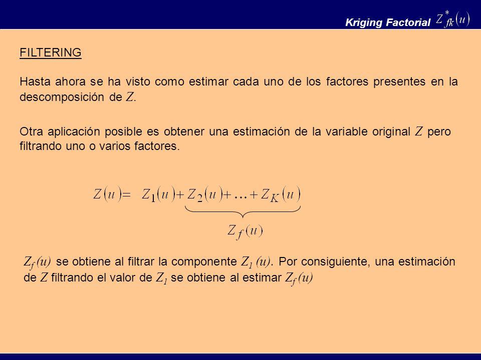 Kriging Factorial FILTERING. Hasta ahora se ha visto como estimar cada uno de los factores presentes en la descomposición de Z.