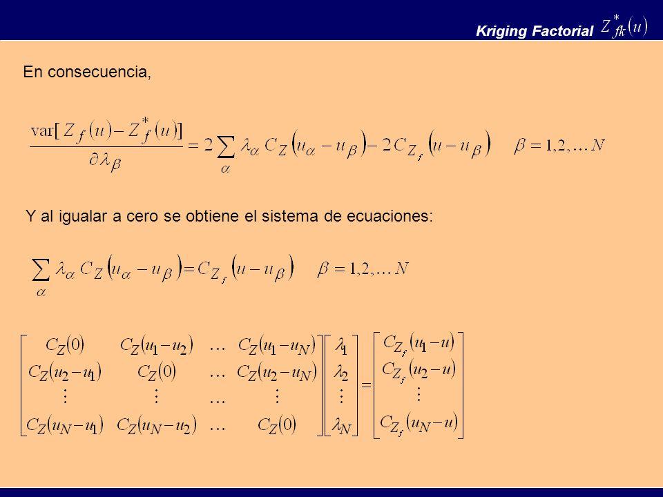 Y al igualar a cero se obtiene el sistema de ecuaciones: