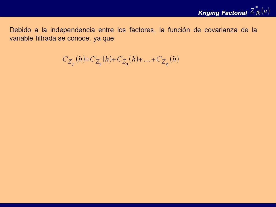 Kriging Factorial Debido a la independencia entre los factores, la función de covarianza de la variable filtrada se conoce, ya que.
