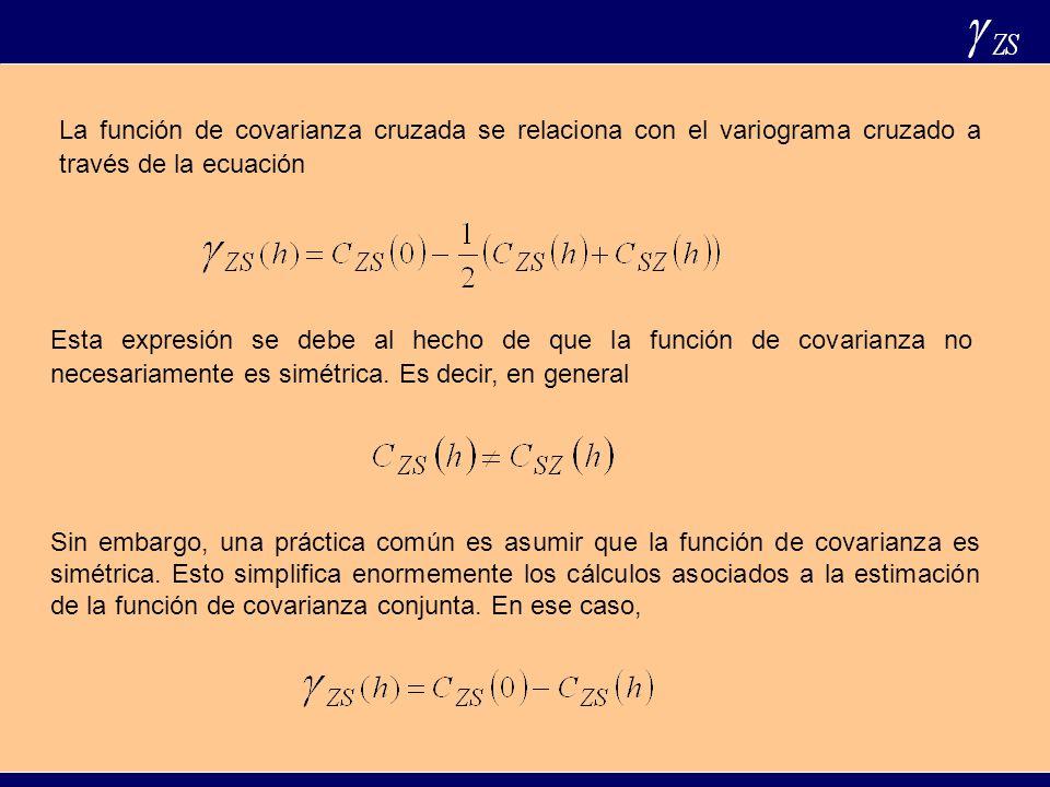 La función de covarianza cruzada se relaciona con el variograma cruzado a través de la ecuación