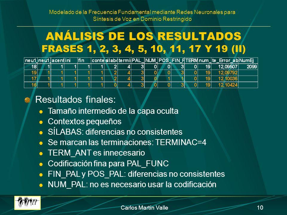 ANÁLISIS DE LOS RESULTADOS FRASES 1, 2, 3, 4, 5, 10, 11, 17 Y 19 (II)