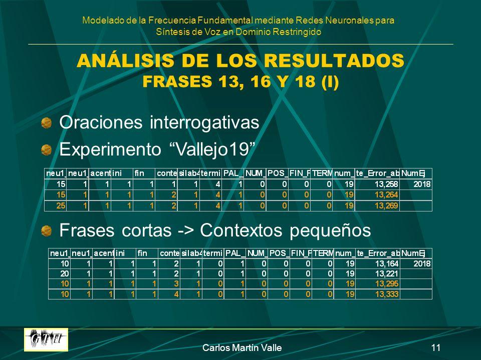ANÁLISIS DE LOS RESULTADOS FRASES 13, 16 Y 18 (I)