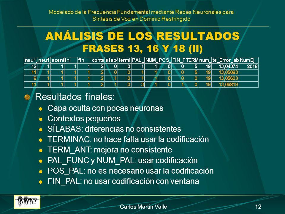 ANÁLISIS DE LOS RESULTADOS FRASES 13, 16 Y 18 (II)