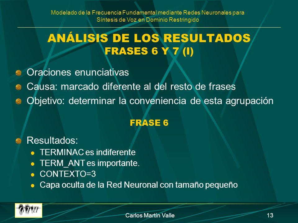ANÁLISIS DE LOS RESULTADOS FRASES 6 Y 7 (I)