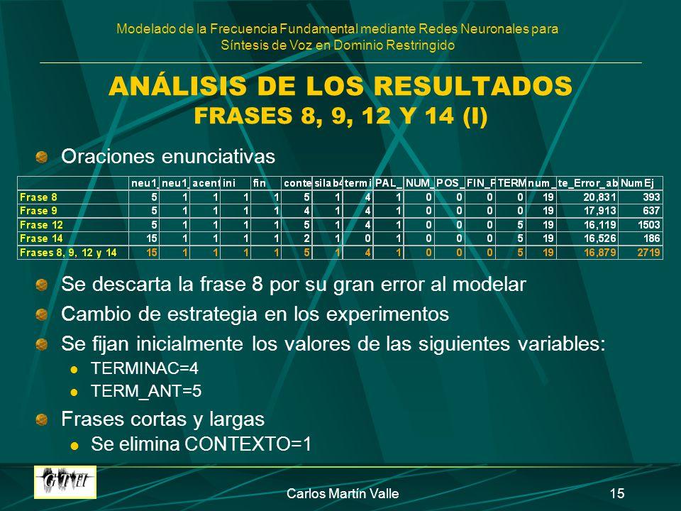ANÁLISIS DE LOS RESULTADOS FRASES 8, 9, 12 Y 14 (I)