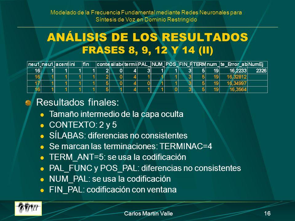 ANÁLISIS DE LOS RESULTADOS FRASES 8, 9, 12 Y 14 (II)