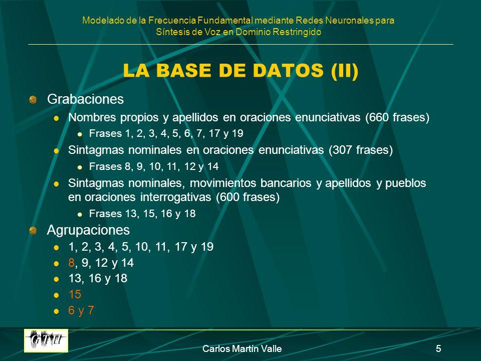 LA BASE DE DATOS (II) Grabaciones Agrupaciones