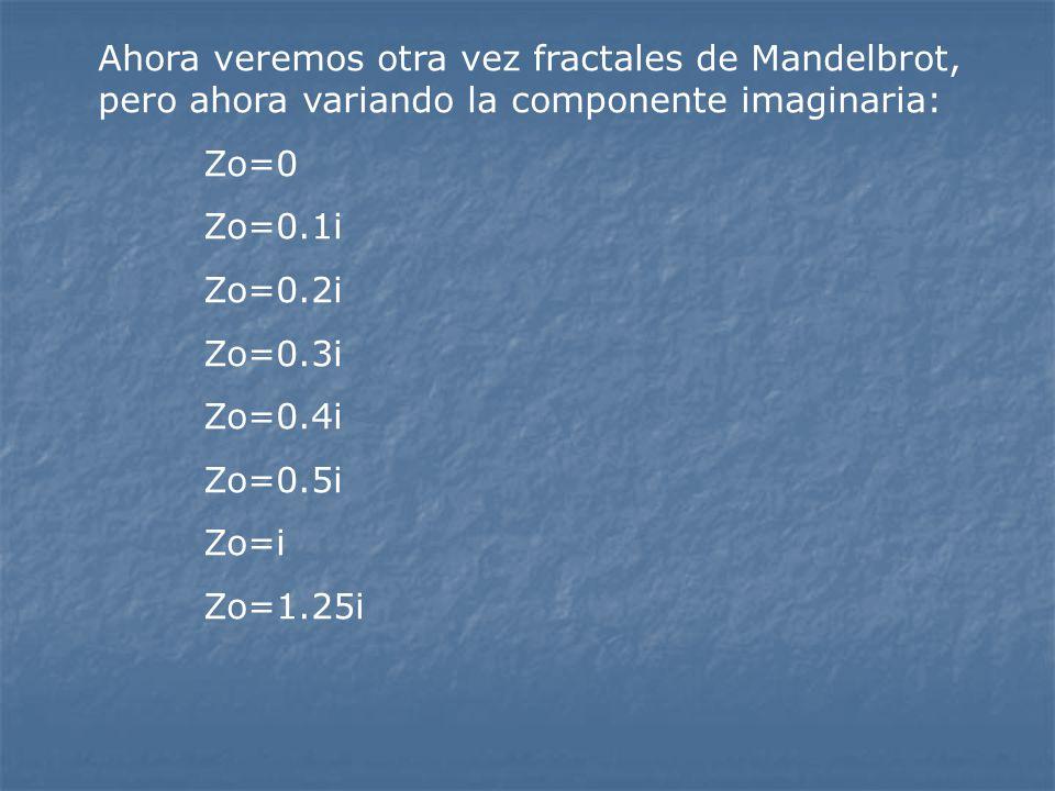 Ahora veremos otra vez fractales de Mandelbrot, pero ahora variando la componente imaginaria: