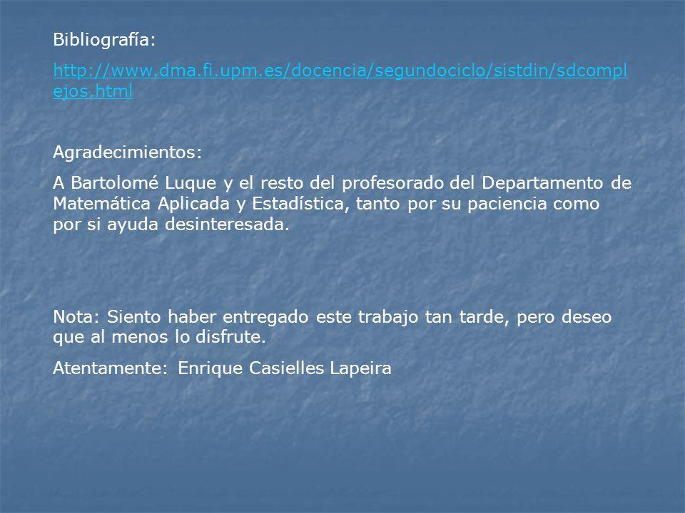 Bibliografía: http://www.dma.fi.upm.es/docencia/segundociclo/sistdin/sdcomplejos.html. Agradecimientos: