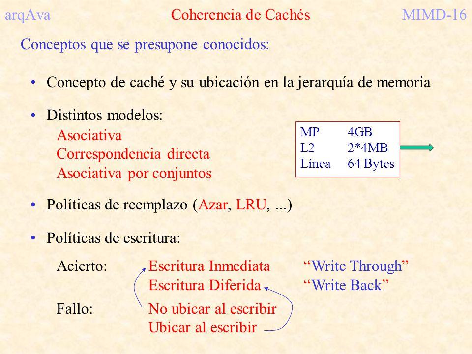 arqAva Coherencia de Cachés MIMD-16