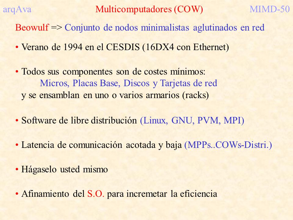 arqAva Multicomputadores (COW) MIMD-50