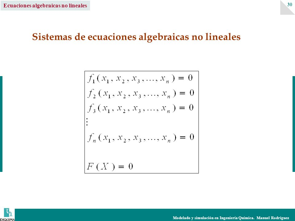 Sistemas de ecuaciones algebraicas no lineales