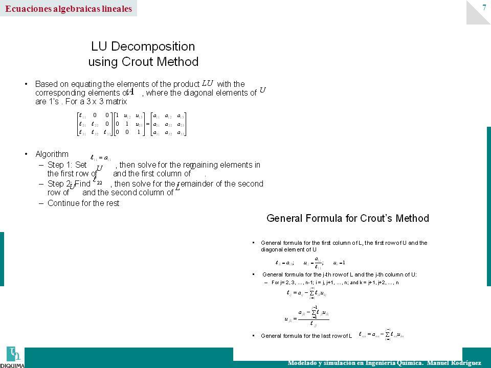 Ecuaciones algebraicas lineales