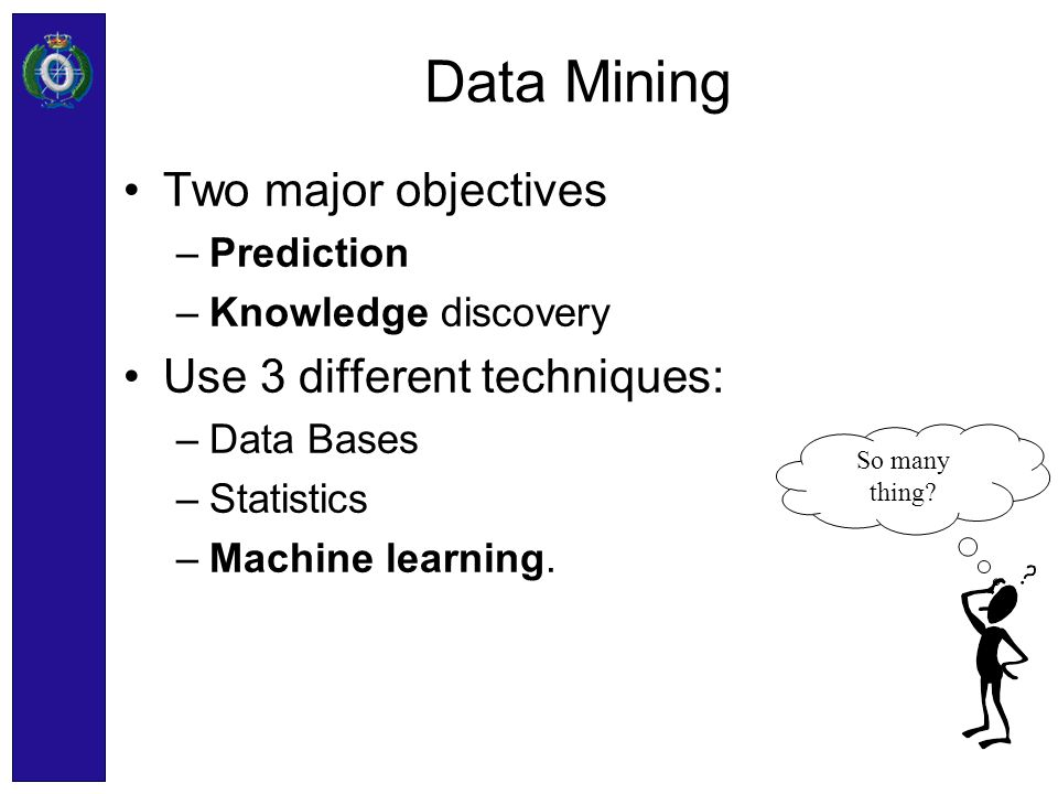 Data Mining Two major objectives Use 3 different techniques: