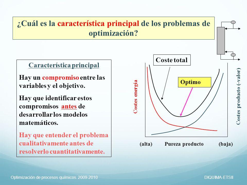 ¿Cuál es la característica principal de los problemas de optimización