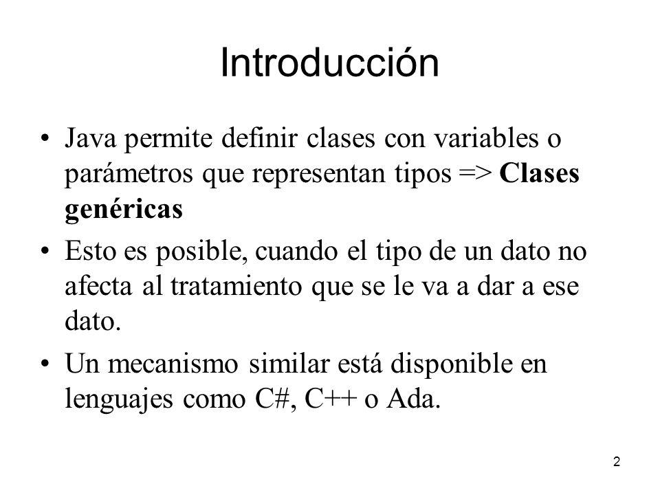 Introducción Java permite definir clases con variables o parámetros que representan tipos => Clases genéricas.