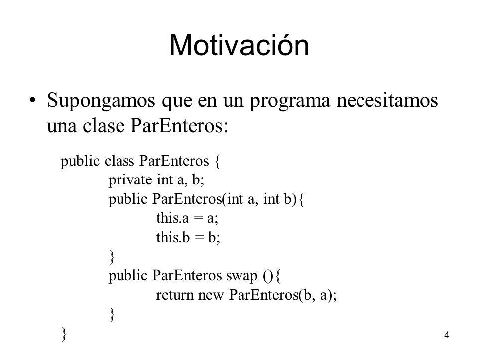 Motivación Supongamos que en un programa necesitamos una clase ParEnteros: public class ParEnteros {