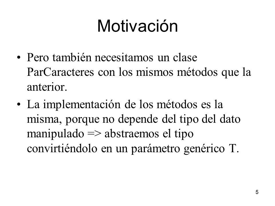 Motivación Pero también necesitamos un clase ParCaracteres con los mismos métodos que la anterior.