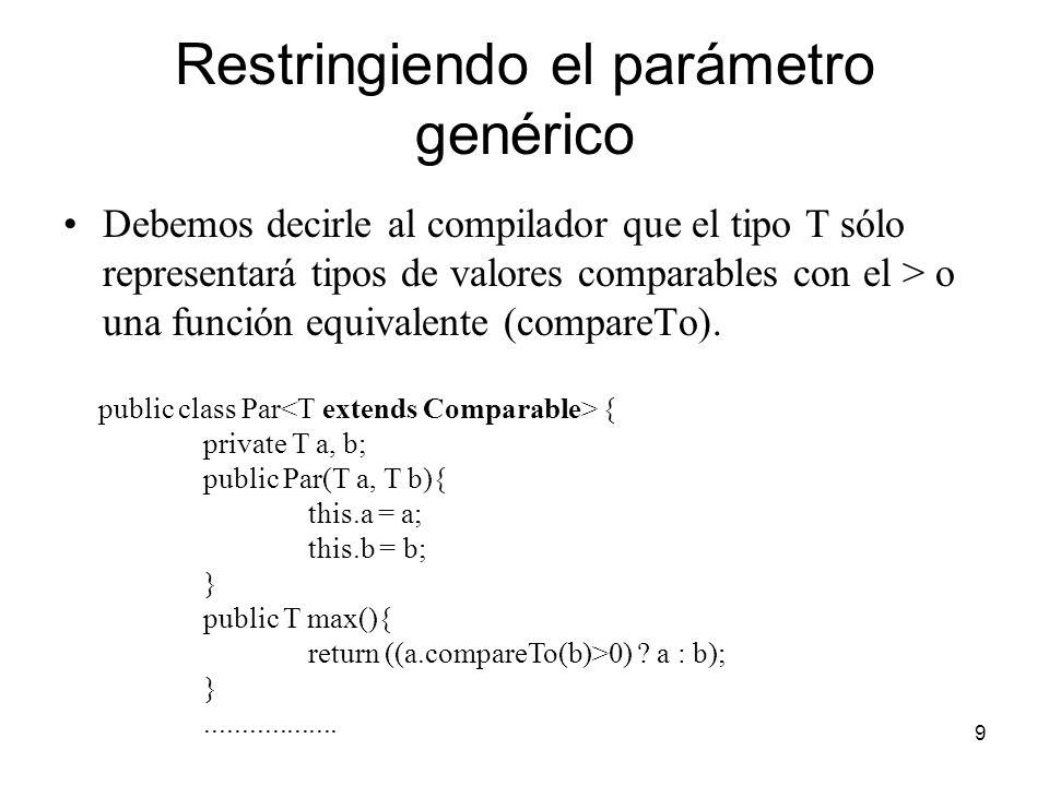 Restringiendo el parámetro genérico
