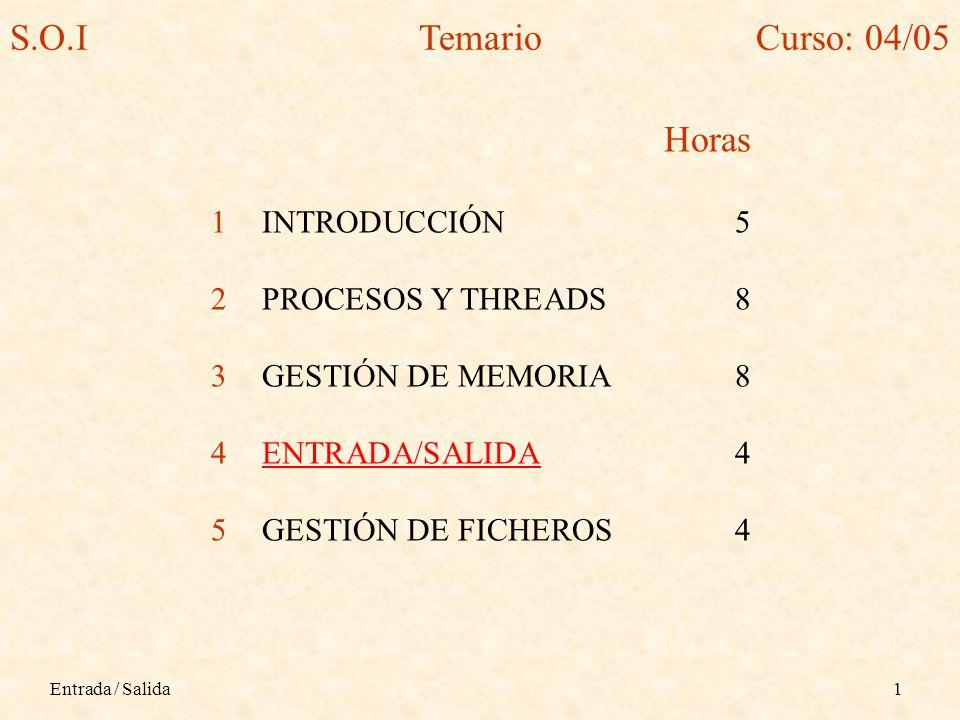 S.O.I Temario Curso: 04/05 Horas INTRODUCCIÓN 5 PROCESOS Y THREADS 8