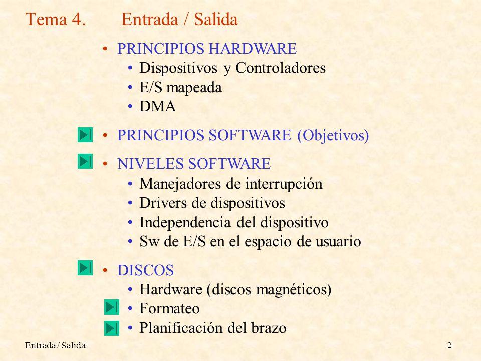Tema 4. Entrada / Salida PRINCIPIOS HARDWARE