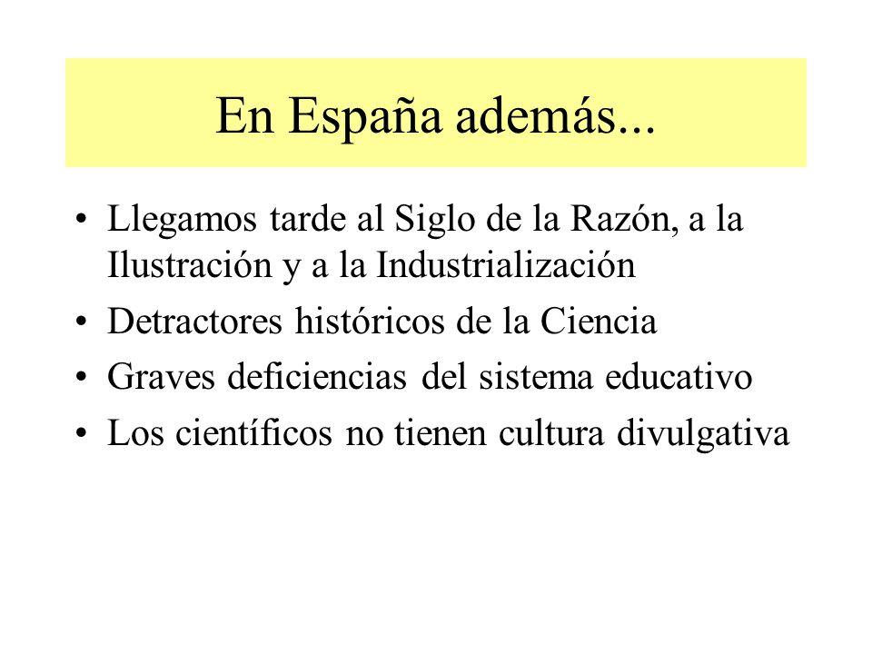 En España además... Llegamos tarde al Siglo de la Razón, a la Ilustración y a la Industrialización.