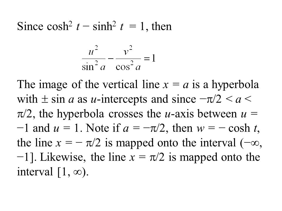 Since cosh2 t − sinh2 t = 1, then The image of the vertical line x = a is a hyperbola with  sin a as u-intercepts and since −/2 < a < /2, the hyperbola crosses the u-axis between u = −1 and u = 1.