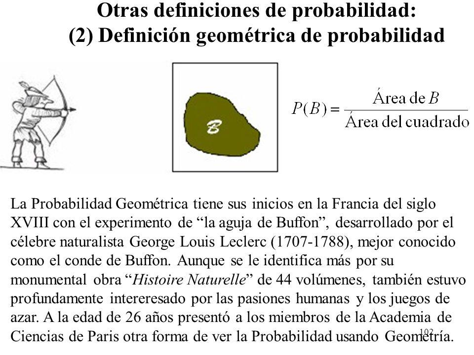 Otras definiciones de probabilidad: (2) Definición geométrica de probabilidad