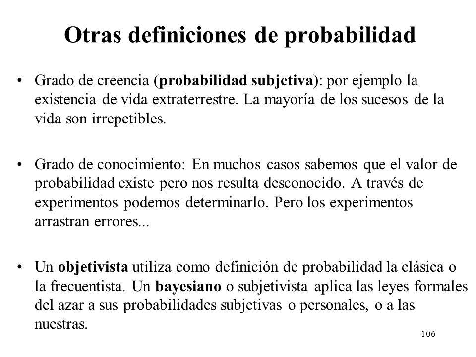 Otras definiciones de probabilidad