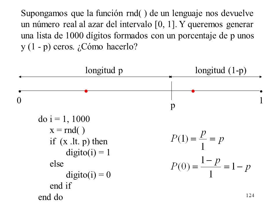 Supongamos que la función rnd( ) de un lenguaje nos devuelve