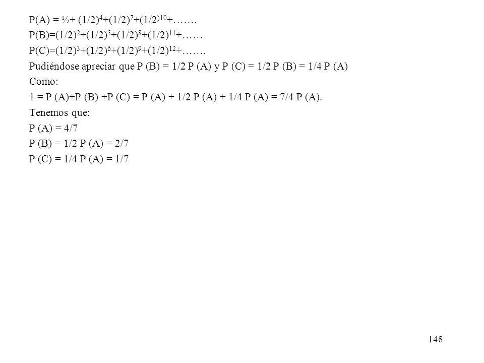 P(A) = ½+ (1/2)4+(1/2)7+(1/2)10+…….
