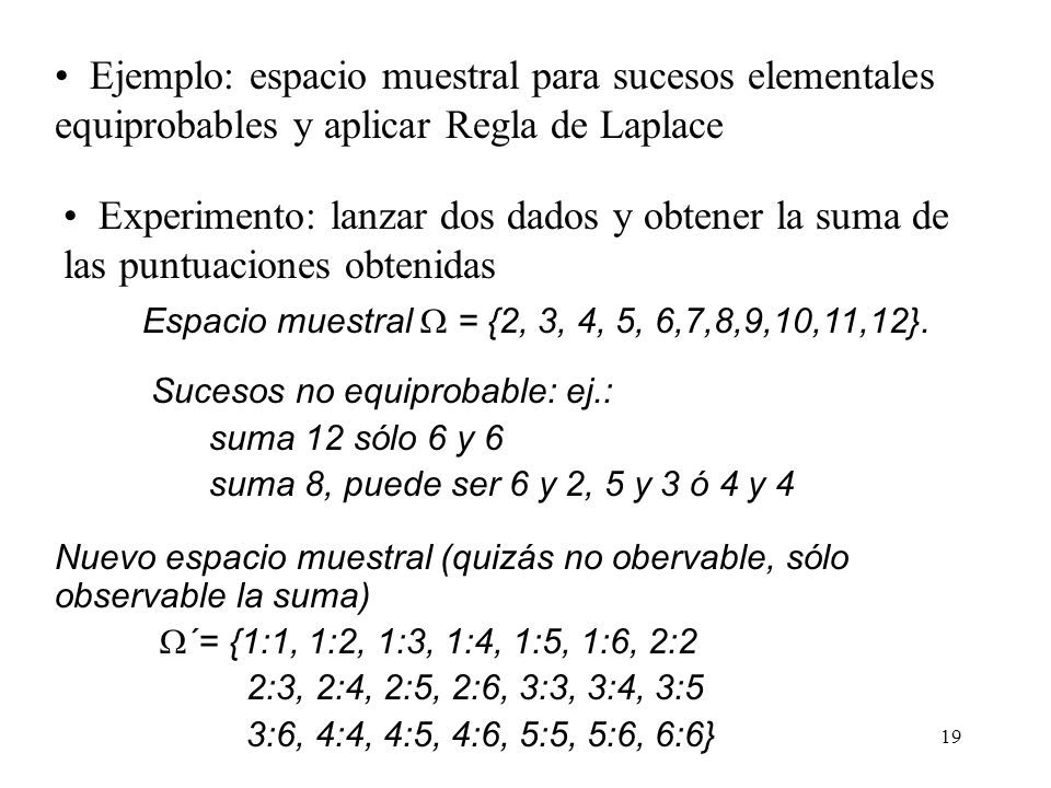 Ejemplo: espacio muestral para sucesos elementales equiprobables y aplicar Regla de Laplace