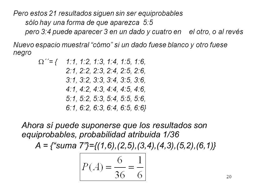 A = { suma 7 }={(1,6),(2,5),(3,4),(4,3),(5,2),(6,1)}