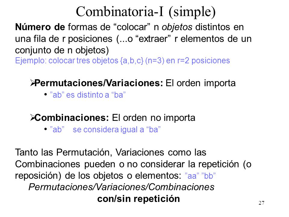 Combinatoria-I (simple)