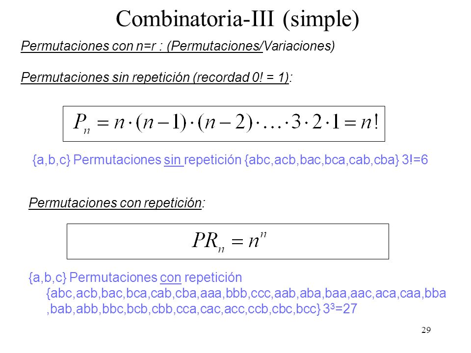 Combinatoria-III (simple)