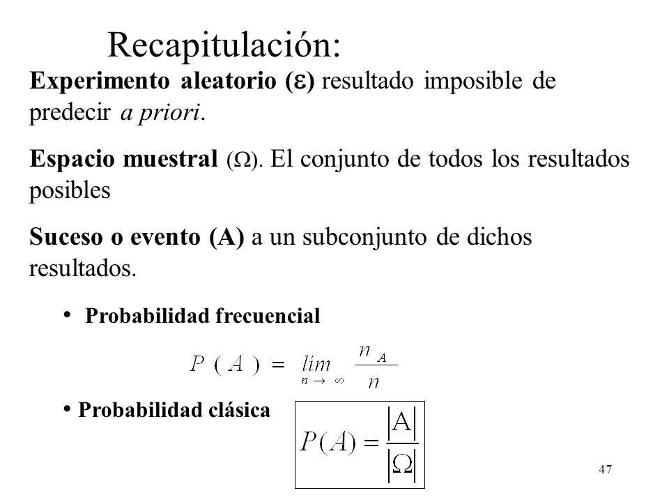 Recapitulación: Experimento aleatorio () resultado imposible de predecir a priori.